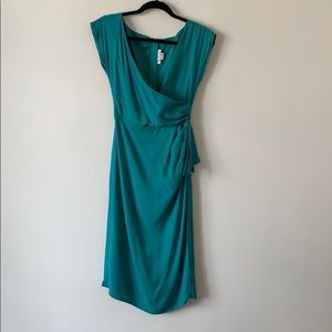 Stop Staring Pleated Vintage Dress Teal Small